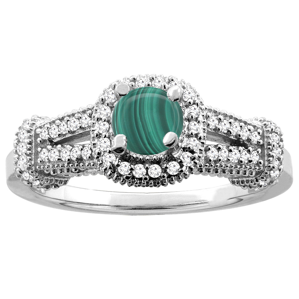 14K White Gold Natural Malachite Engagement Halo Ring Round 5mm Diamond Accents, sizes 5 - 10