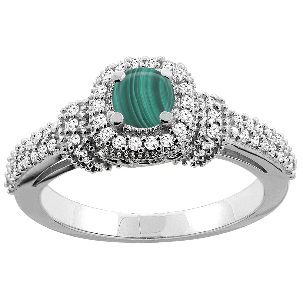 14K Gold Natural Malachite Engagement Halo Ring Round 5mm Diamond Accents, sizes 5 - 10