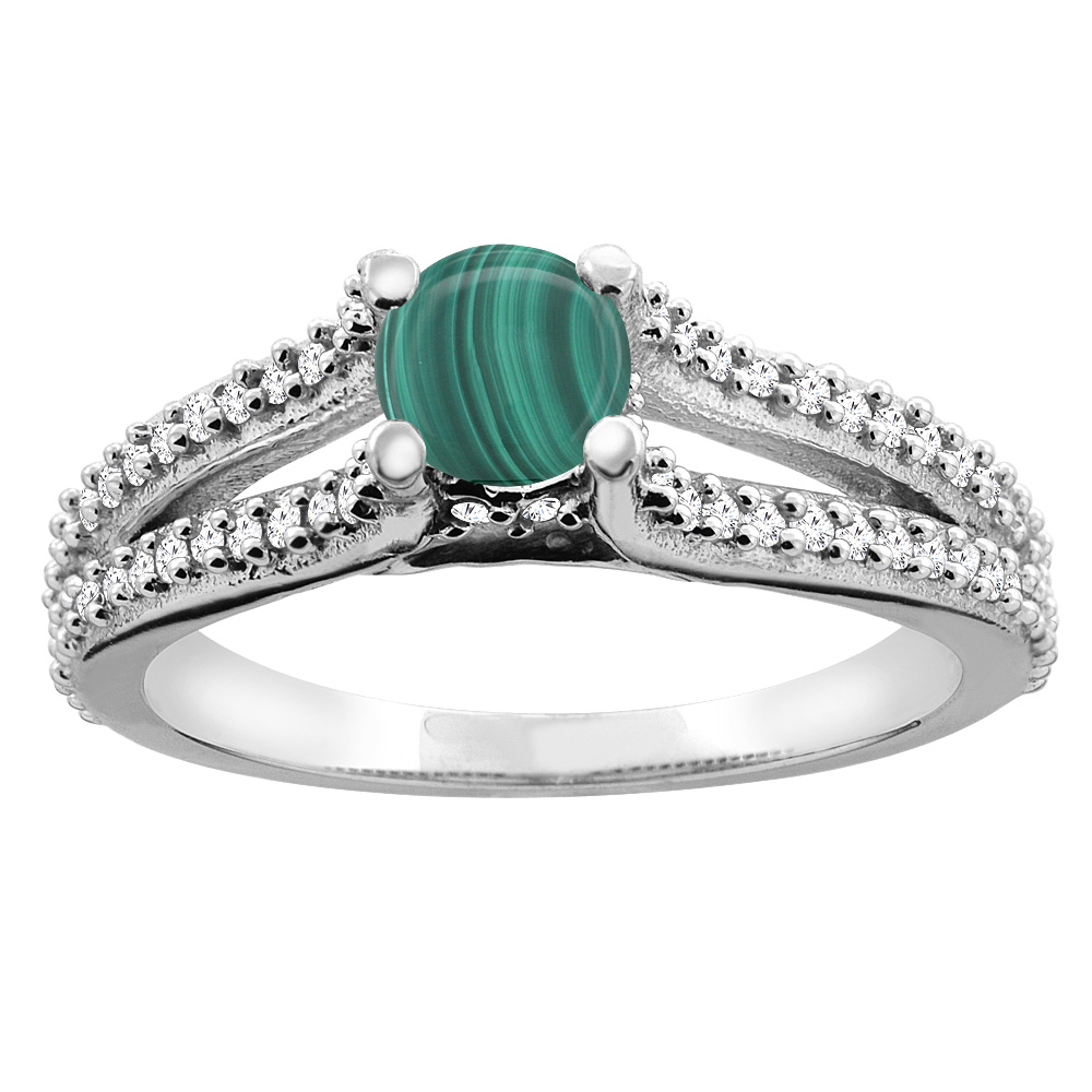 14K White Gold Natural Malachite Engagement Split Shank Ring Round 5mm Diamond Accents, sizes 5 - 10