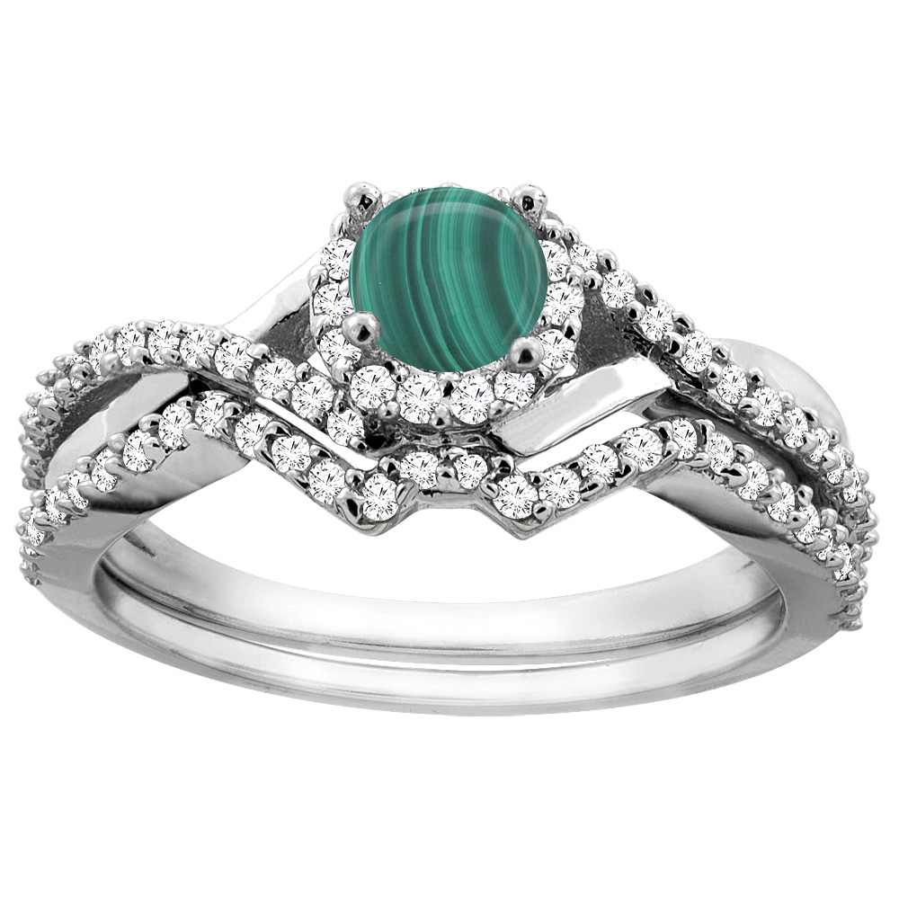 14K Gold Natural Malachite 2-piece Bridal Ring Set Round 5mm, sizes 5 - 10