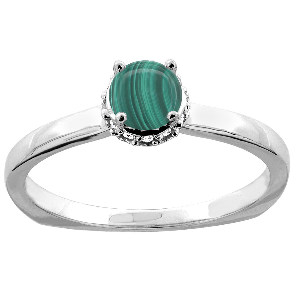 14K Gold Natural Malachite Solitaire Engagement Ring Round 4mm Diamond Accents, sizes 5 - 10
