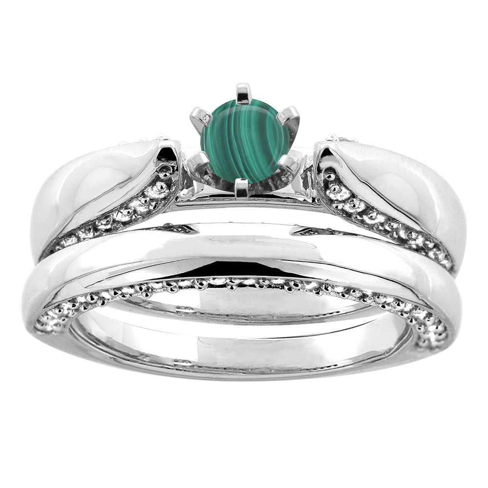 14K White Gold Natural Malachite 2-piece Bridal Ring Set Diamond Accents Round 5mm, sizes 5 - 10