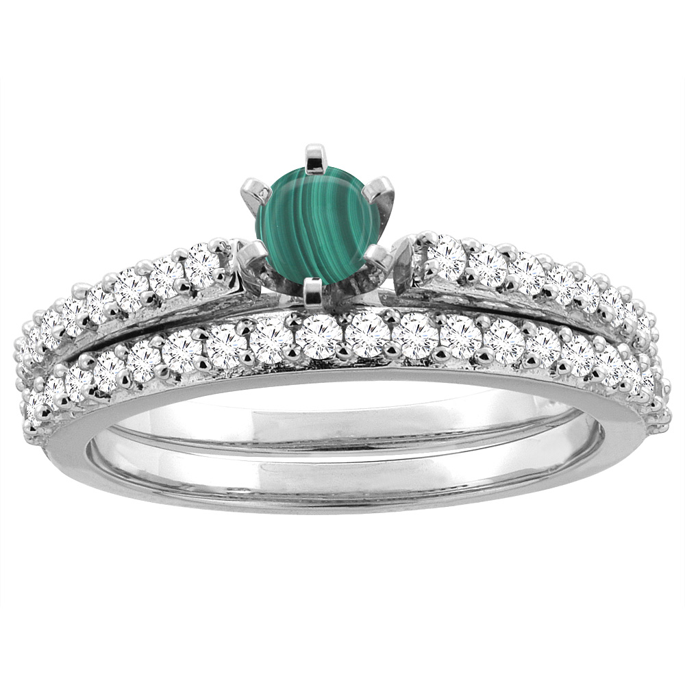14K White Gold Natural Malachite 2-piece Bridal Ring Set Round 4mm, sizes 5 - 10