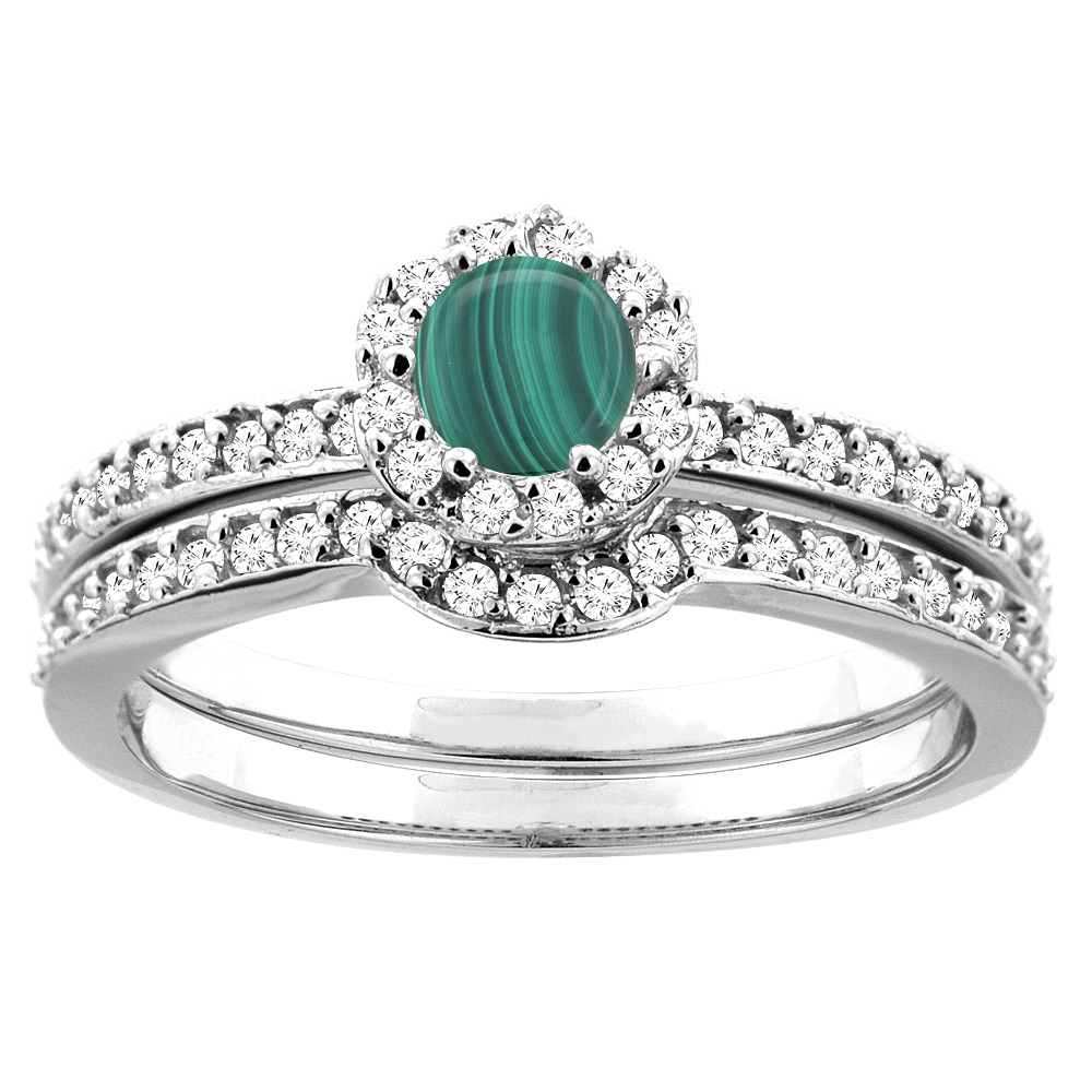 14K White Gold Natural Malachite 2-pc Bridal Ring Set Diamond Accent Round 4mm, sizes 5 - 10