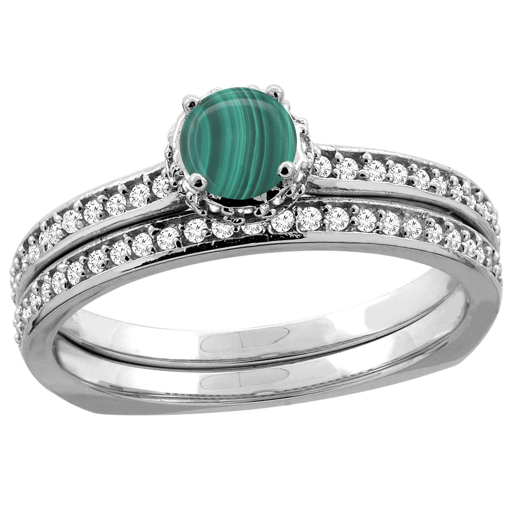 14K White Gold Diamond Natural Malachite 2-pc Bridal Ring Set Round 4mm, sizes 5 - 10