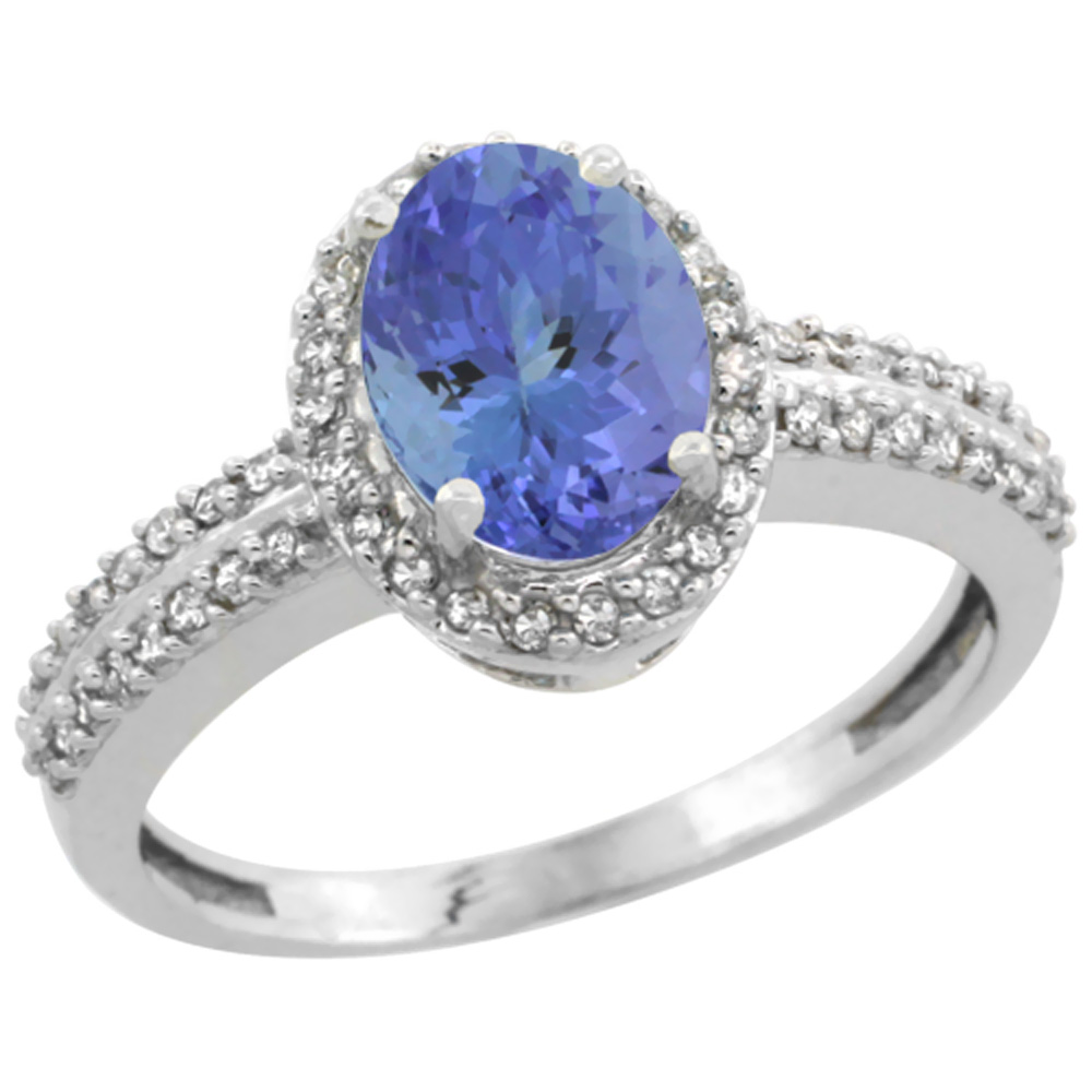 14K White Gold Natural Tanzanite Ring Oval 8x6mm Diamond Halo, sizes 5-10