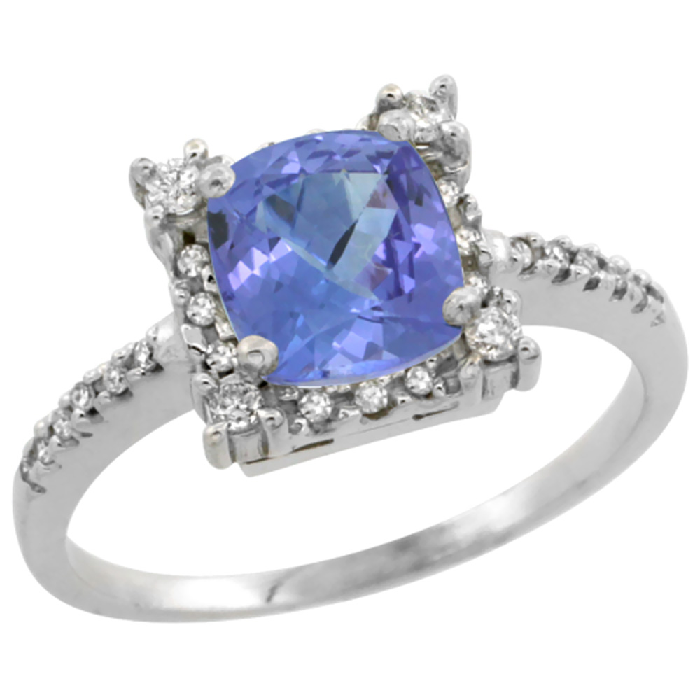 14K White Gold Natural Tanzanite Ring Cushion-cut 6x6mm Diamond Halo, sizes 5-10