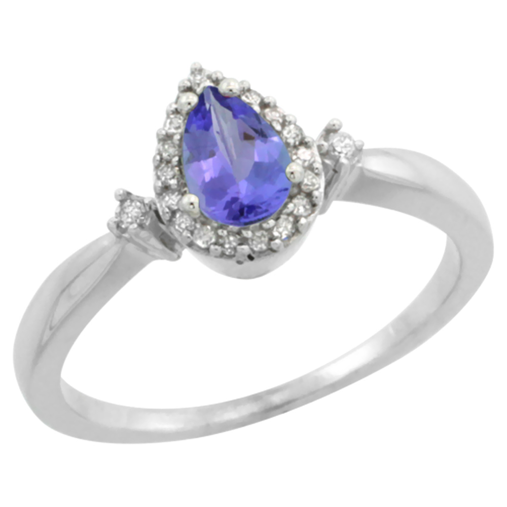 10K White Gold Diamond Natural Tanzanite Ring Pear 6x4mm, sizes 5-10