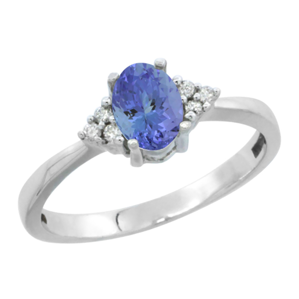 14K White Gold Natural Tanzanite Ring Oval 6x4mm Diamond Accent, sizes 5-10