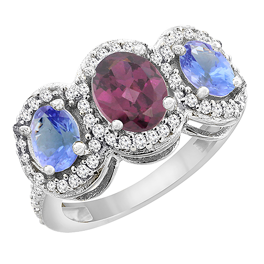 10K White Gold Natural Rhodolite & Tanzanite 3-Stone Ring Oval Diamond Accent, sizes 5 - 10
