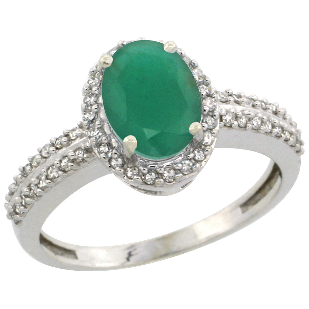 10k White Gold Natural Cabochon Emerald Ring Oval 8x6mm Diamond Halo, sizes 5-10