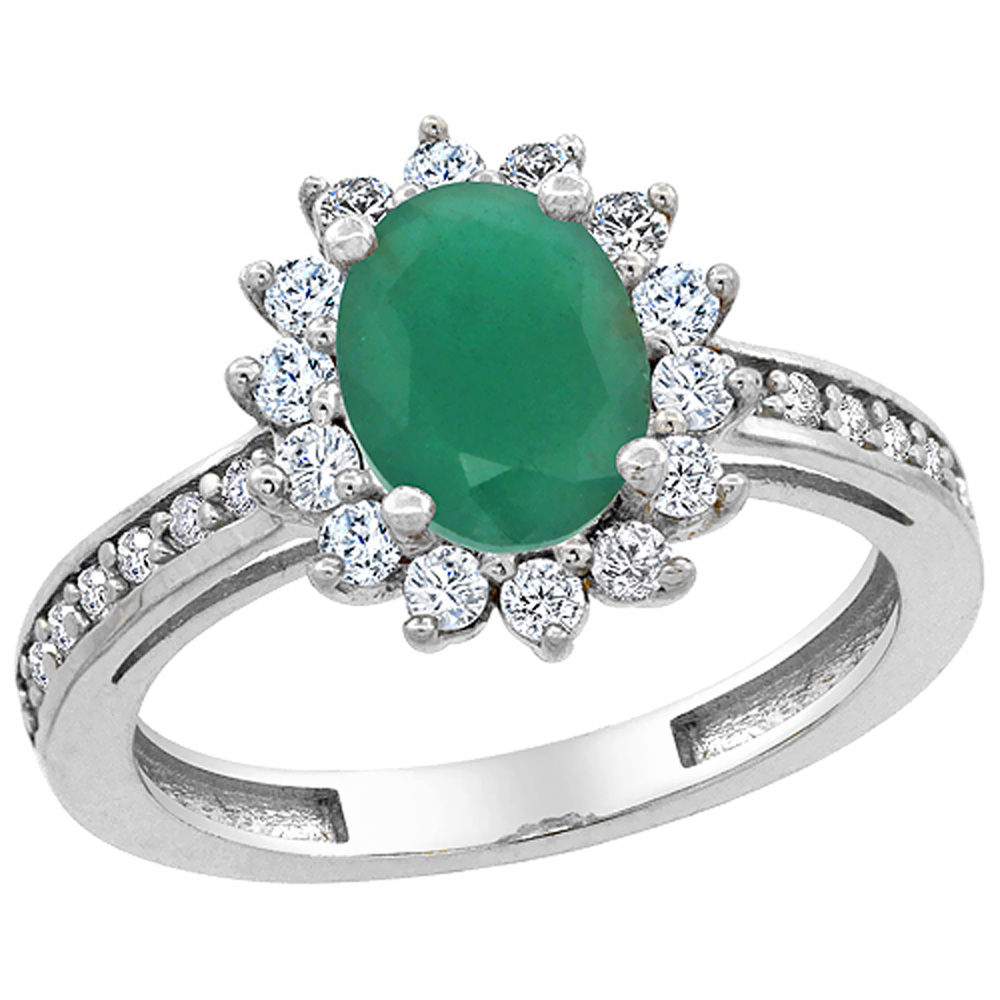 14K White Gold Natural Cabochon Emerald Floral Halo Ring Oval 8x6mm Diamond Accents, sizes 5 - 10