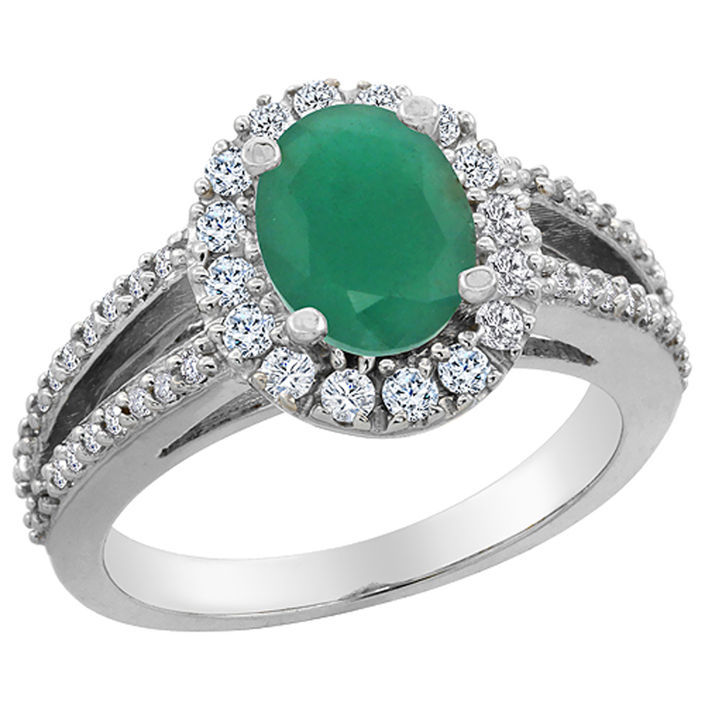 10K White Gold Natural Cabochon Emerald Halo Ring Oval 8x6 mm with Diamond Accents, sizes 5 - 10