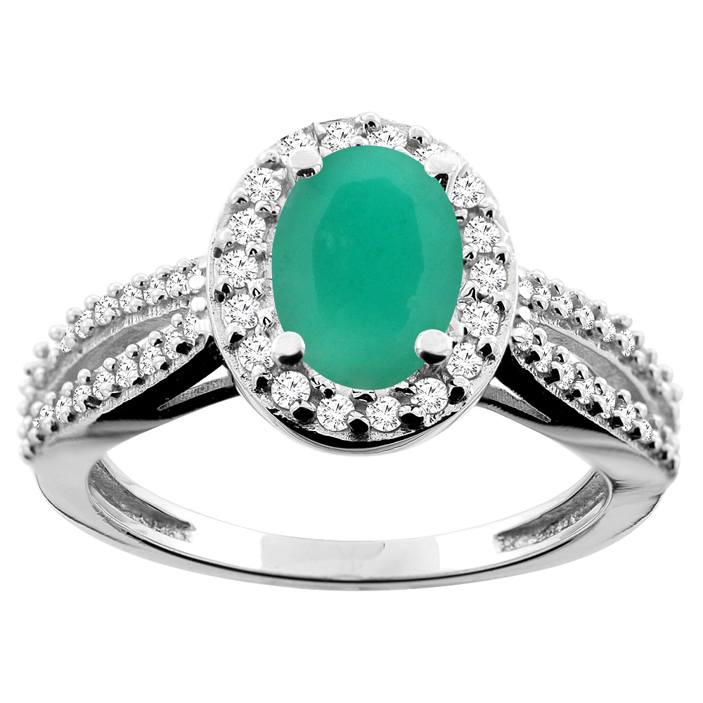 10K White/Yellow/Rose Gold Natural Cabochon Emerald Ring Oval 8x6mm Diamond Accent, sizes 5 - 10