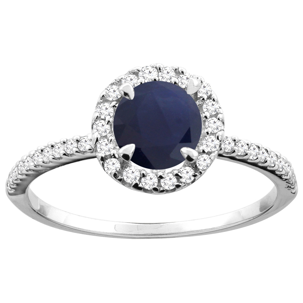 14K Gold Natural HQ Blue Sapphire Ring Round 6mm Diamond Accents, sizes 5 - 10