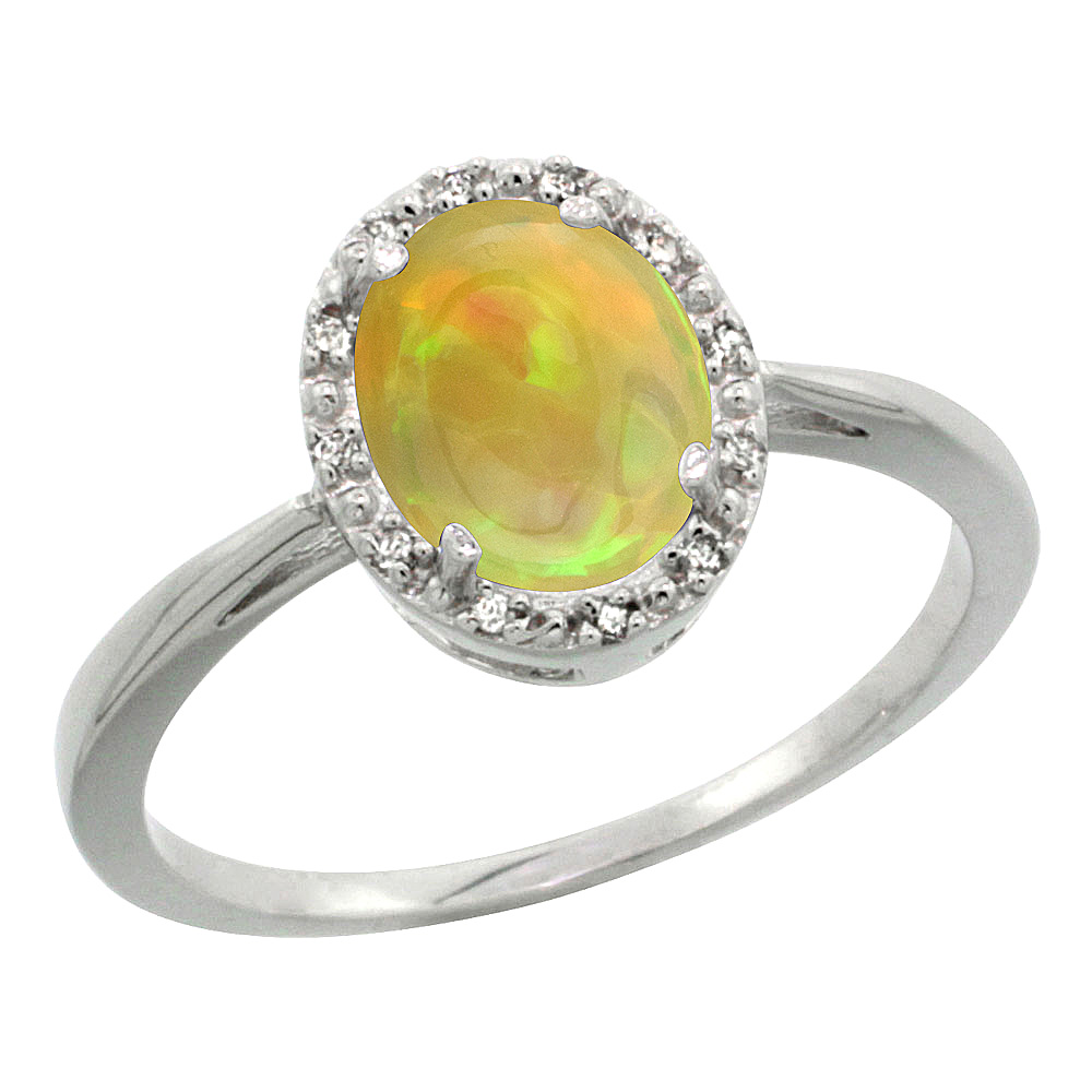 14K White Gold Natural Ethiopian Opal Diamond Halo Engagement Ring Oval 8x6 mm, size 5-10