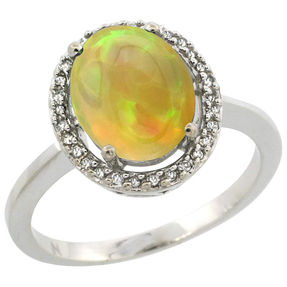 10K White Gold Diamond Halo Natural Ethiopian HQ Opal Engagement Ring Oval 10x8 mm, sizes 5-10
