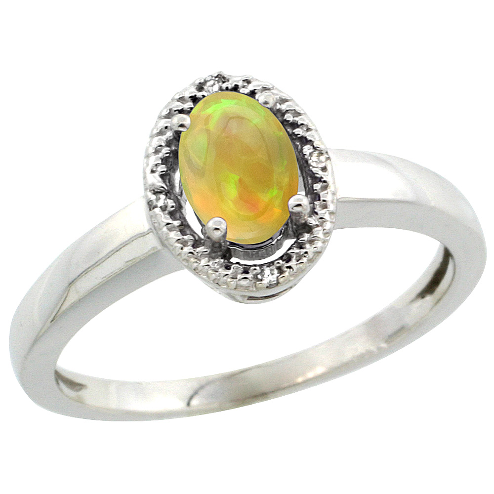 10K White Gold Diamond Halo Natural Ethiopian HQ Opal Engagement Ring Oval 6x4 mm, sizes 5-10