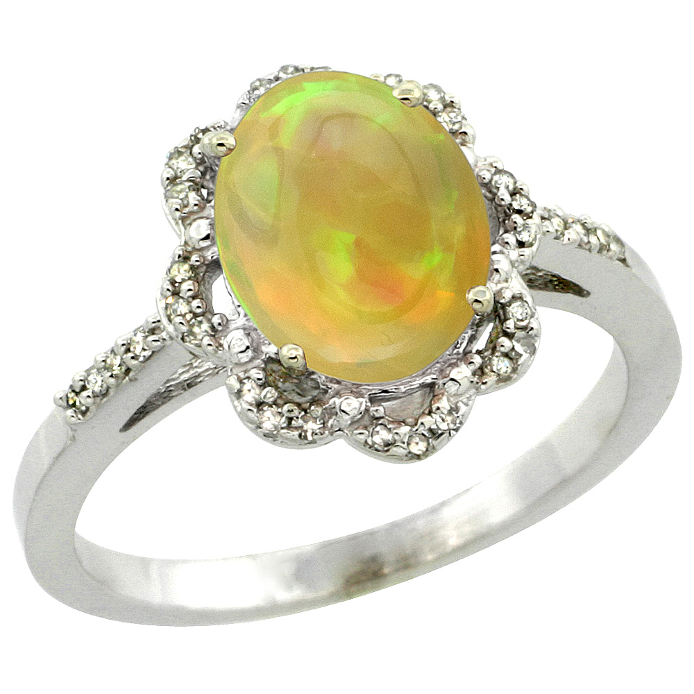 10K White Gold Diamond Natural Ethiopian Opal Engagement Ring Oval 9x7mm, size 5-10
