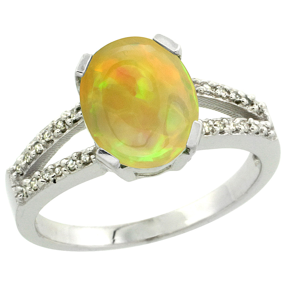 Sterling Silver Diamond Natural Ethiopian Opal Engagement Ring Oval 10x8 mm, size 5-10