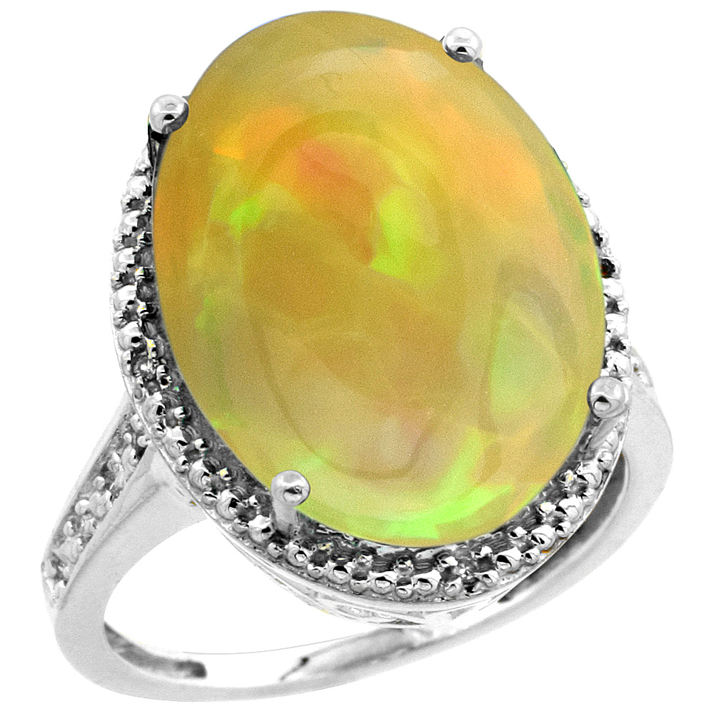 Sterling Silver Diamond Natural Ethiopian HQ Opal Ring Oval 18x13 mm, sizes 5-10