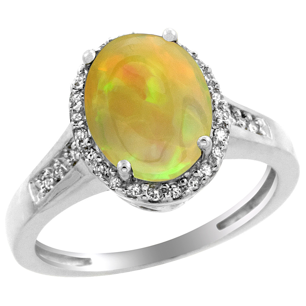 14K White Gold Diamond Natural Ethiopian HQ Opal Engagement Ring Oval 10x8mm, sizes 5-10
