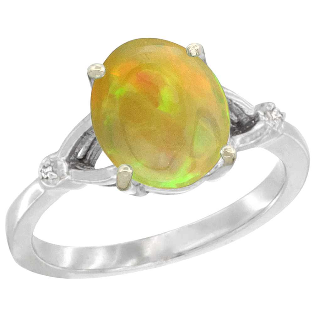 10K White Gold Diamond Natural Ethiopian HQ Opal Engagement Ring Oval 10x8mm, sizes 5-10