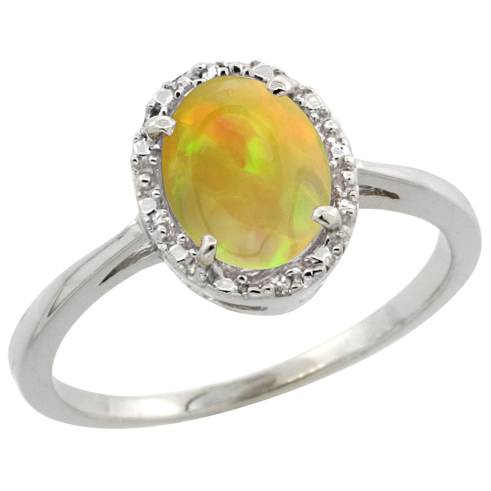 10k White Gold Natural Ethiopian HQ Opal Engagement Ring Oval 8x6 mm Diamond Halo, sizes 5-10
