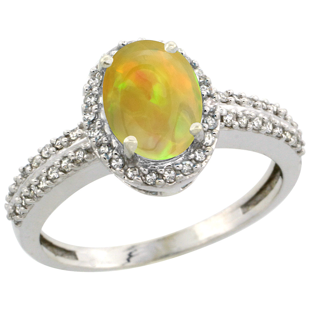 14K White Gold Natural Ethiopian HQ Opal Engagement Ring Oval 8x6mm Diamond Halo, sizes 5-10