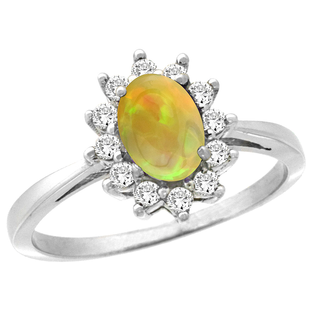 14K White Gold Natural Ethiopian HQ Opal Engagement Ring Oval 7x5mm Diamond Halo, sizes 5-10