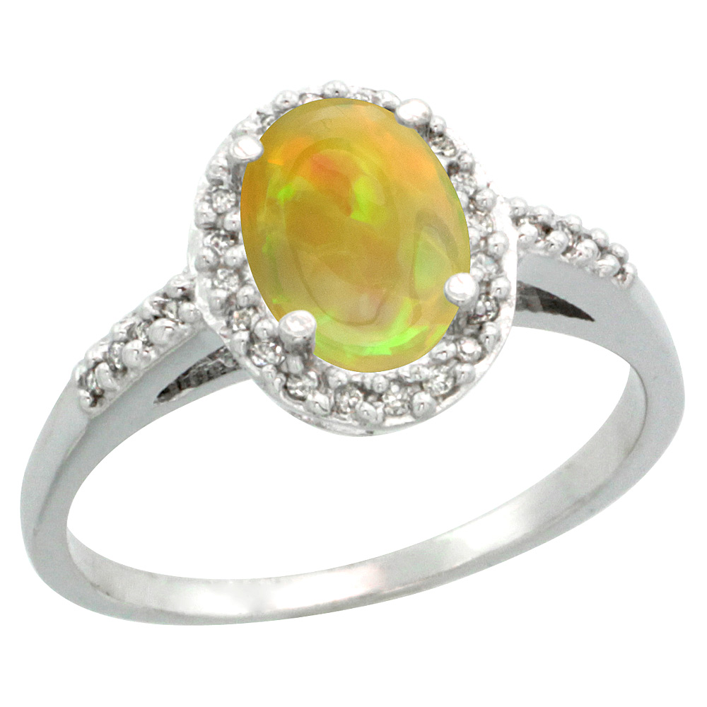 14K White Gold Diamond Natural Ethiopian HQ Opal Engagement Ring Oval 8x6mm, sizes 5-10