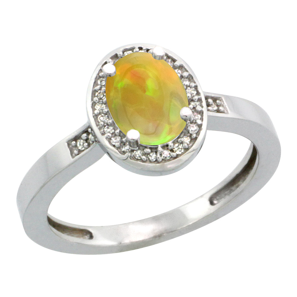 14K White Gold Diamond Natural Ethiopian HQ Opal Engagement Ring Oval 7x5mm, sizes 5-10