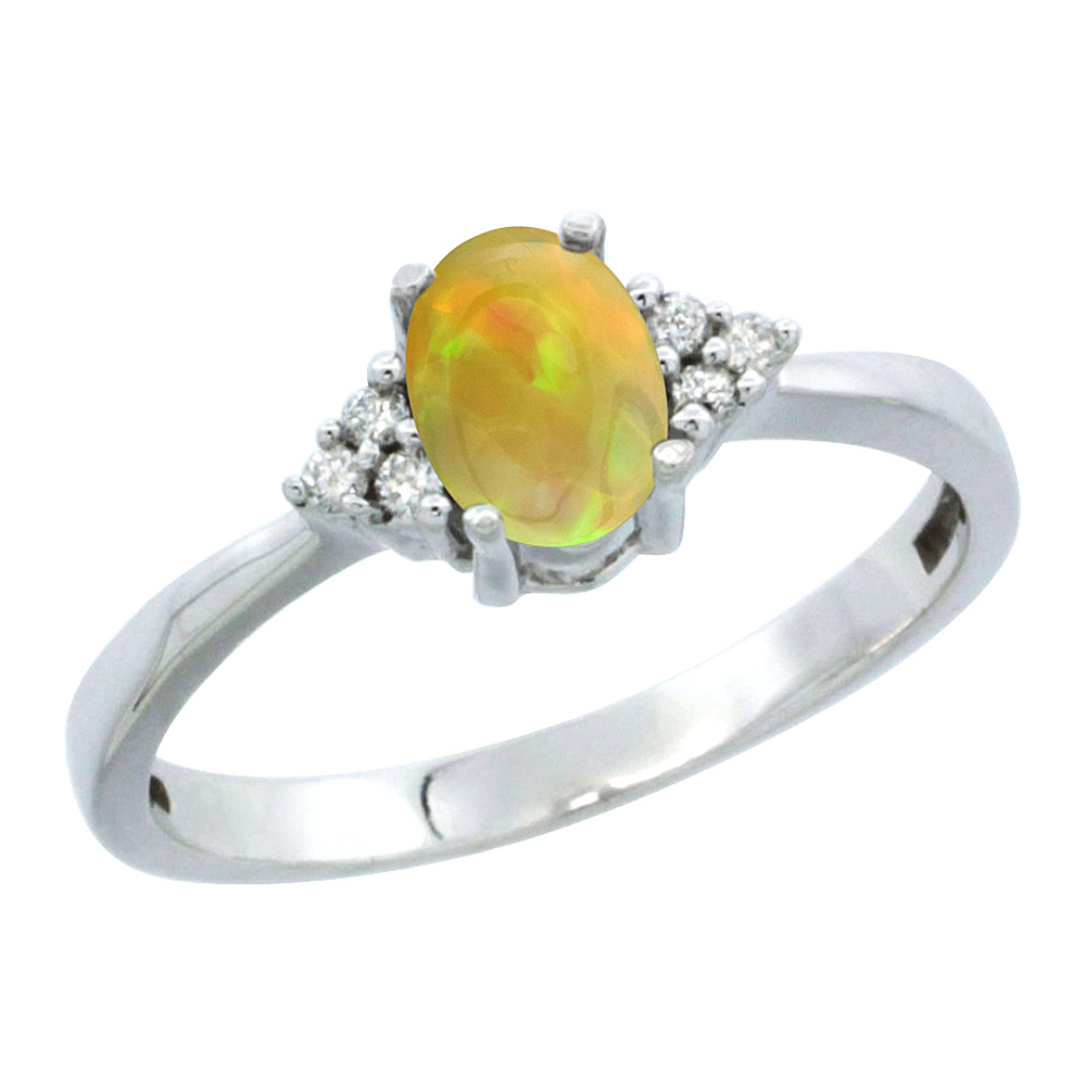 14K White Gold Diamond Natural Ethiopian HQ Opal Engagement Ring Oval 6x4mm, sizes 5-10