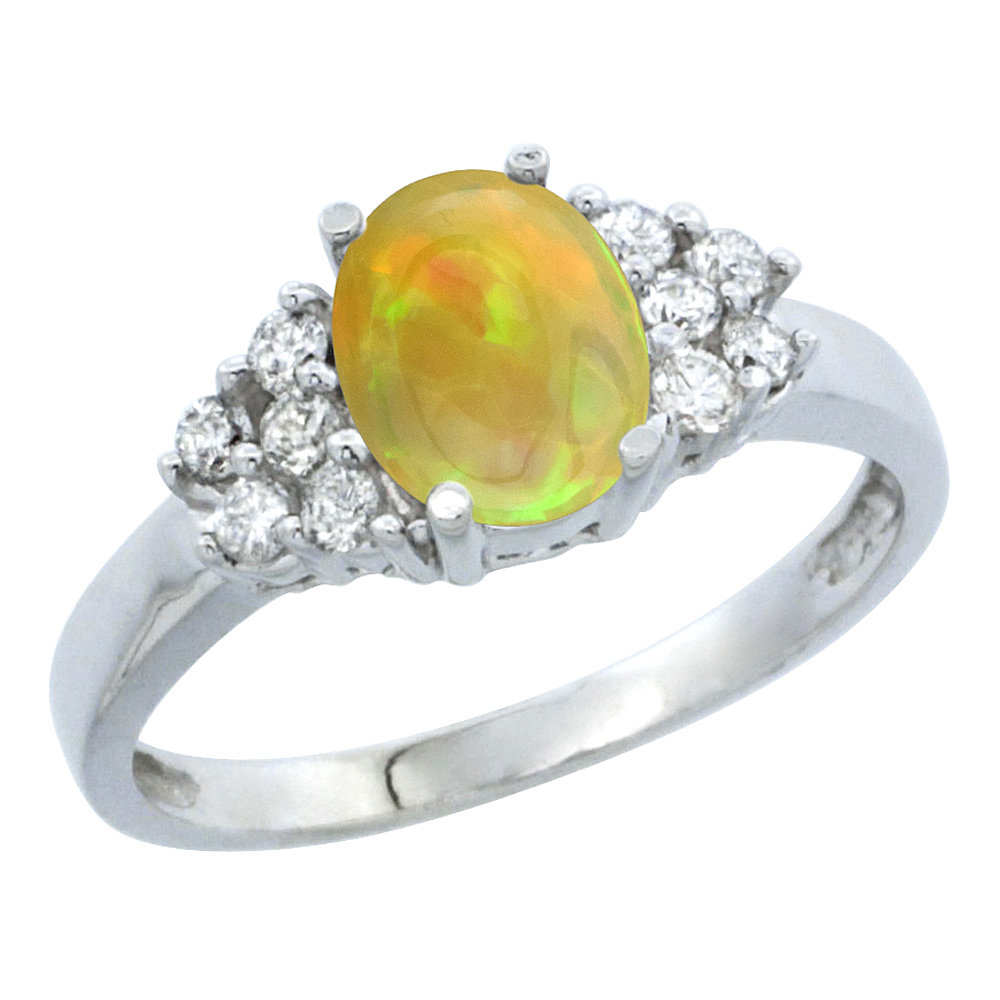 14K White Gold Diamond Natural Ethiopian Opal Engagement Ring Oval 8x6mm, size 5-10