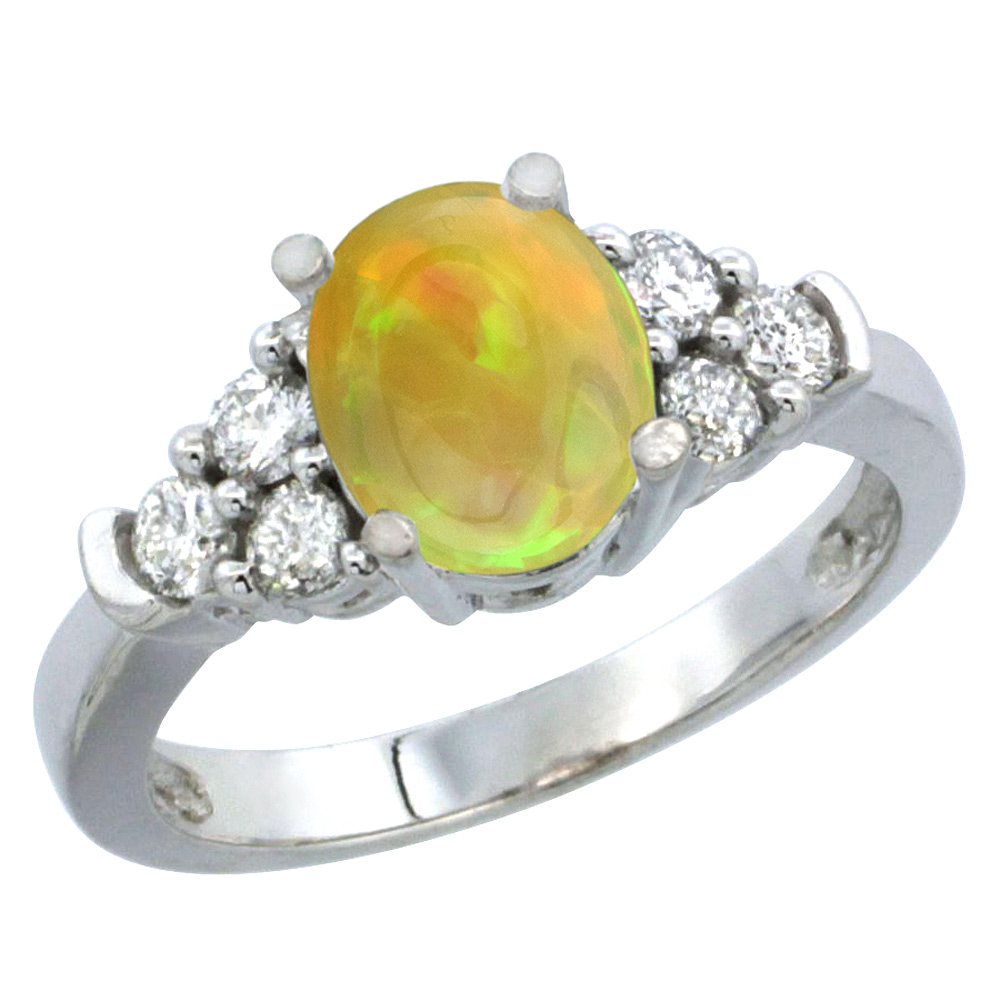 14K White Gold Diamond Natural Ethiopian Opal Engagement Ring Oval 9x7mm, size 5-10