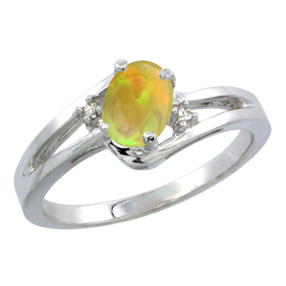 14K White Gold Diamond Natural Ethiopian HQ Opal Engagement Ring Oval 6x4 mm, sizes 5-10