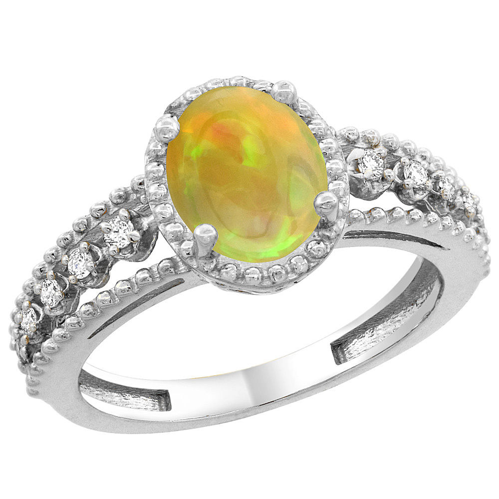 10K White Gold Diamond Natural Ethiopian HQ Opal Engagement Ring Oval 9x7 mm, sizes 5 - 10