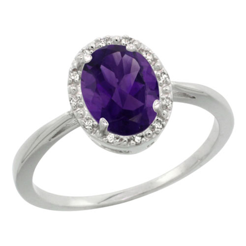 Sterling Silver Natural Amethyst Diamond Halo Ring Oval 8X6mm, 1/2 inch wide, sizes 5-10
