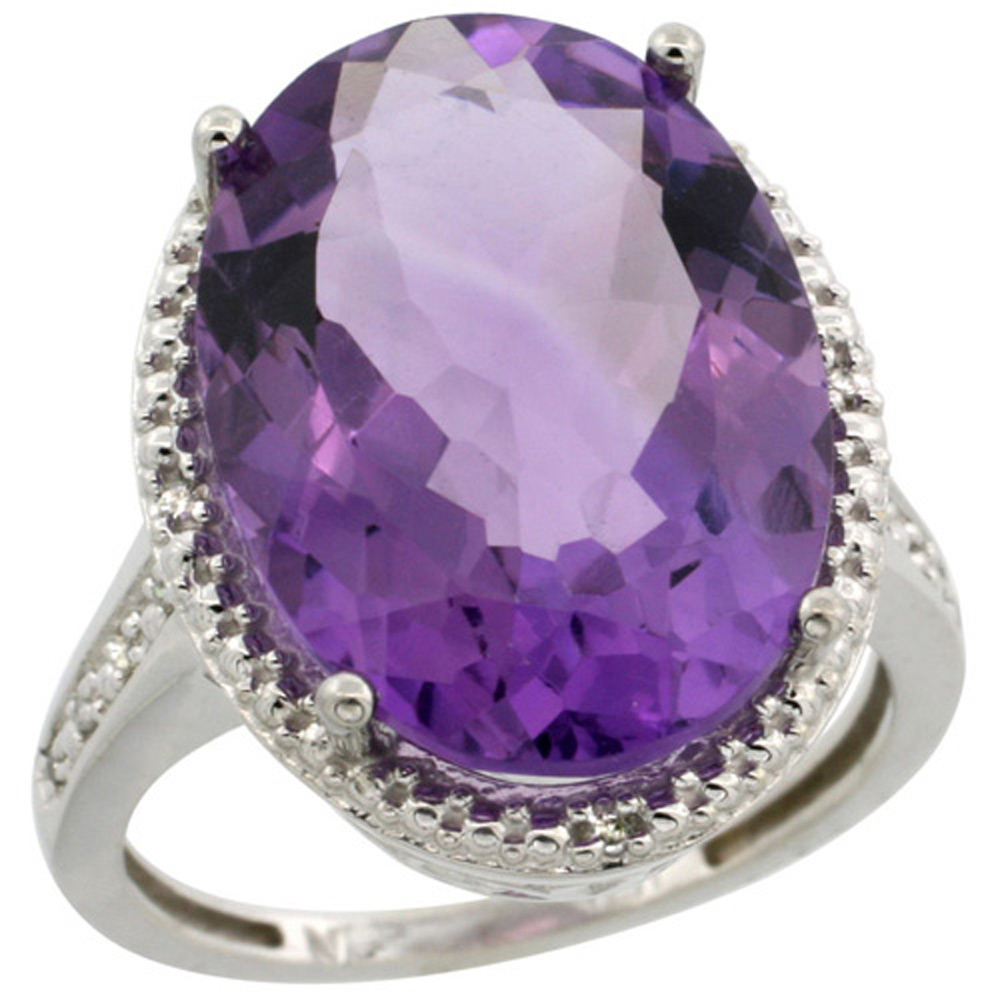 Sterling Silver Diamond Natural Amethyst Ring Oval 18x13mm, 3/4 inch wide, sizes 5-10