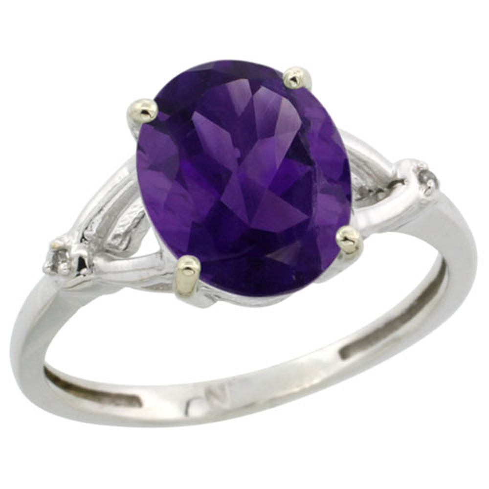 Sterling Silver Natural Gemstone Ring Oval 10x8mm Diamond Accent 3/8 inch wide, sizes 5-10