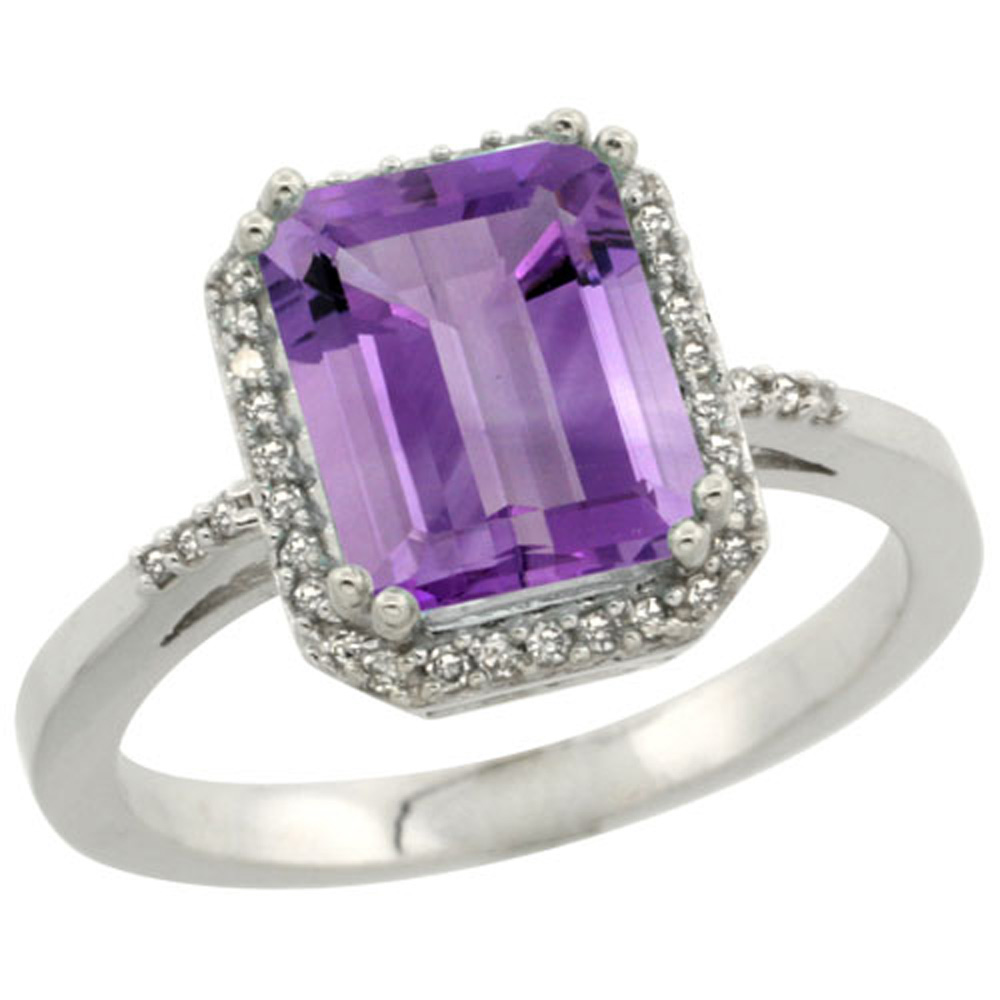 Sterling Silver Diamond Amethyst Ring Emerald-cut 9x7mm, 1/2 inch wide, sizes 5-10