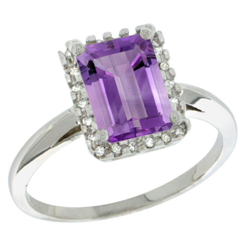 Sterling Silver Diamond Amethyst Ring Emerald-cut 8x6mm, 1/2 inch wide, sizes 5-10