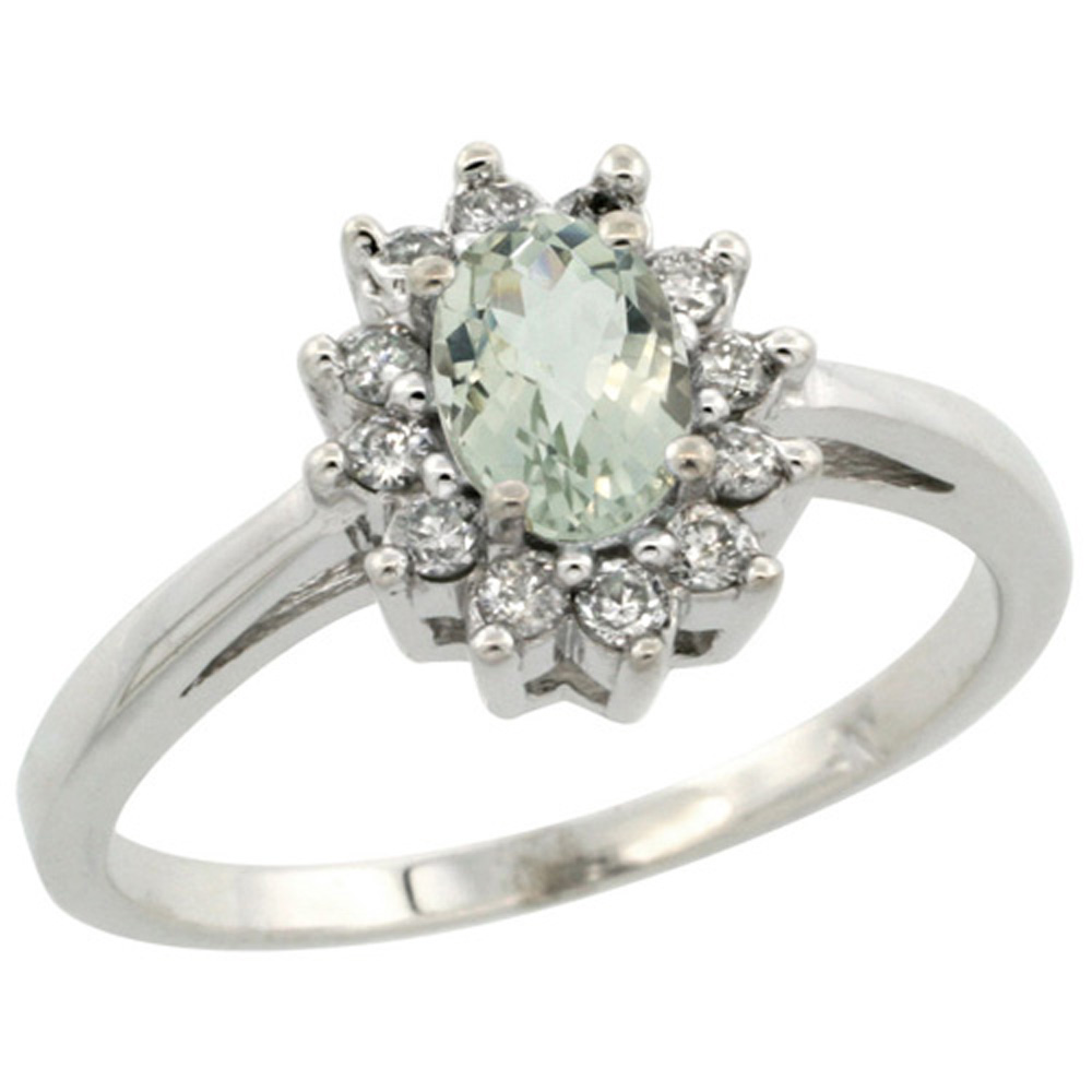 Sterling Silver Natural Green Amethyst Diamond Flower Halo Ring Oval 6X4mm, 3/8 inch wide, sizes 5-10