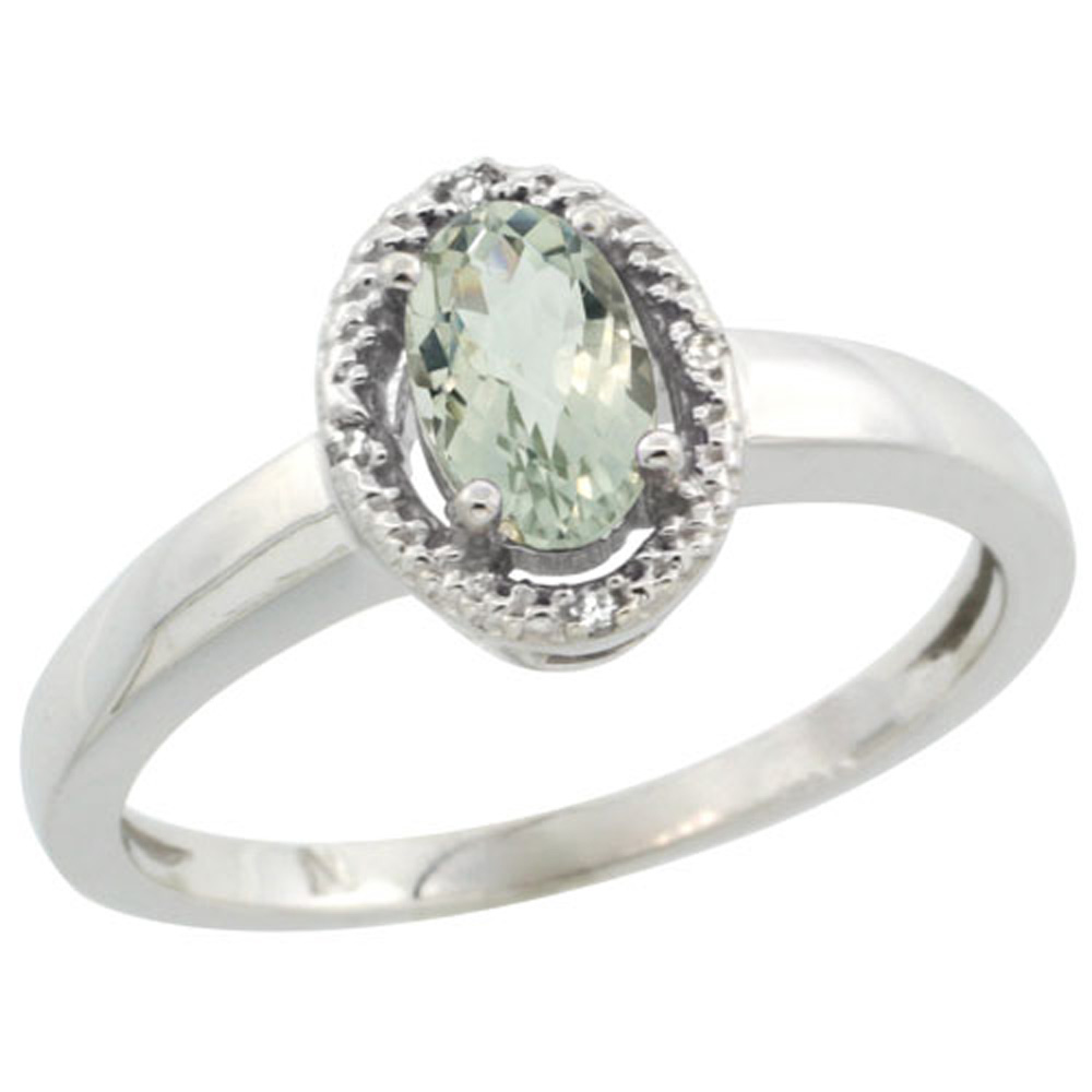 Sterling Silver Diamond Halo Natural Green Amethyst Ring Oval 6X4 mm, 3/8 inch wide, sizes 5-10