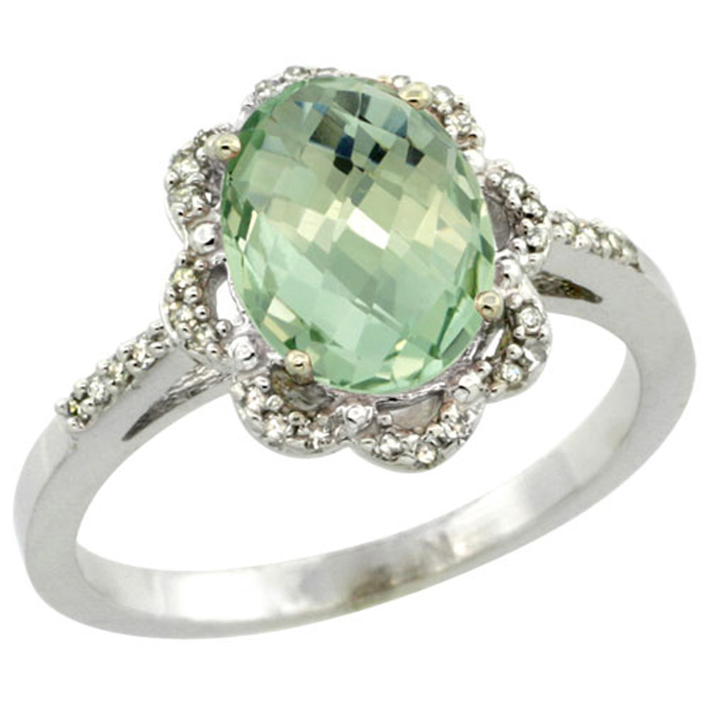 Sterling Silver Diamond Halo Natural Green Amethyst Ring Oval 9x7mm, 7/16 inch wide, sizes 5-10