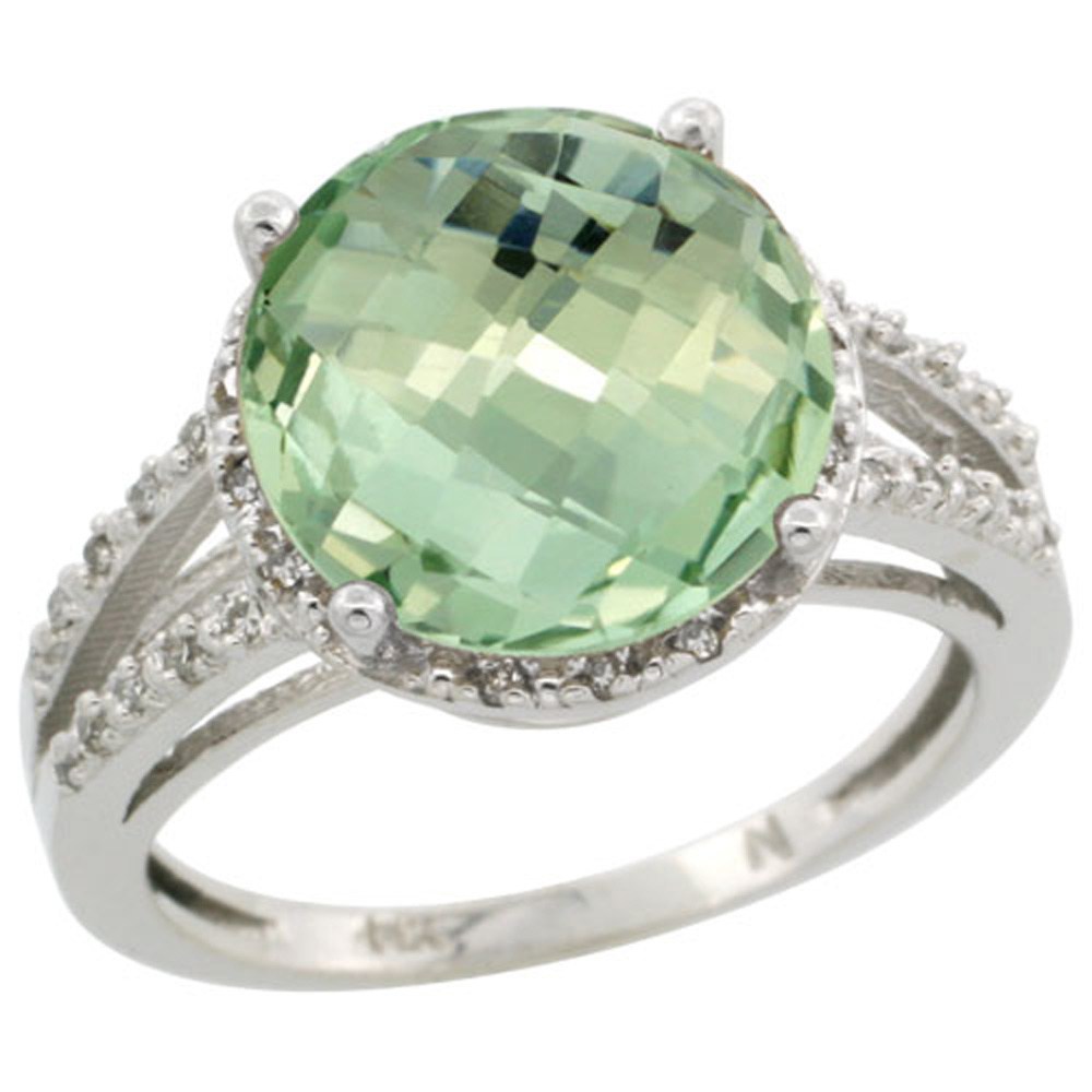 Sterling Silver Diamond Natural Green Amethyst Ring Round 11mm, 1/2 inch wide, sizes 5-10