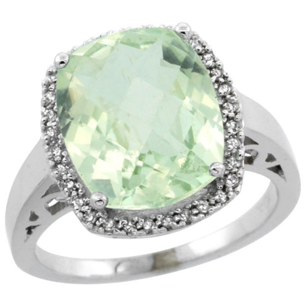 Sterling Silver Diamond Natural Green Amethyst Ring Cushion-cut 12x10mm, 1/2 inch wide, sizes 5-10
