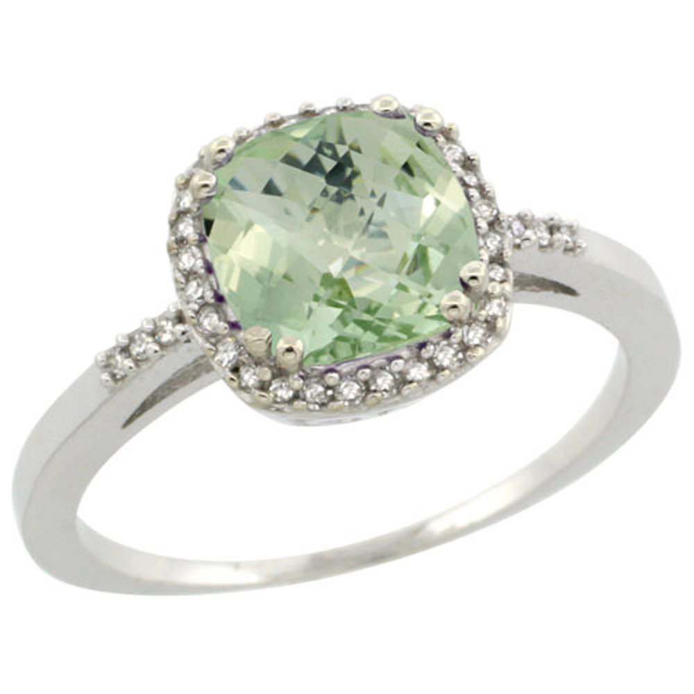 Sterling Silver Diamond Natural Green Amethyst Ring Cushion-cut 7x7mm, 3/8 inch wide, sizes 5-10