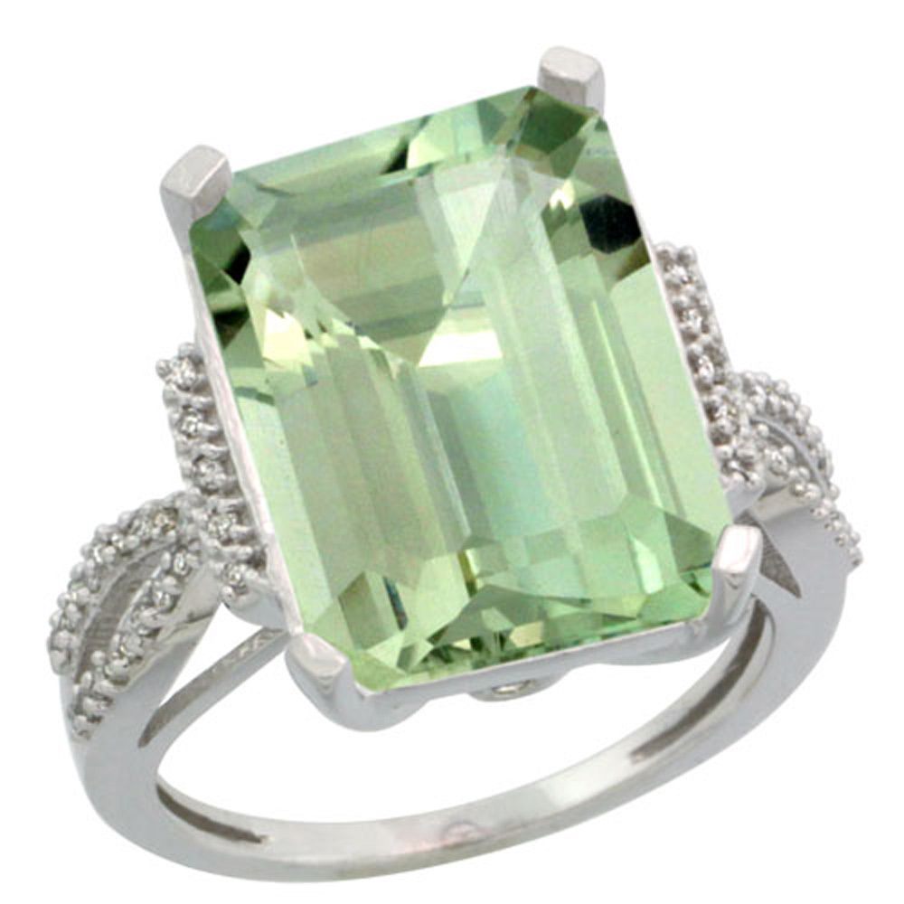 Sterling Silver Diamond Green Amethyst Ring Emerald-cut 16x12mm, 3/4 inch wide, sizes 5-10