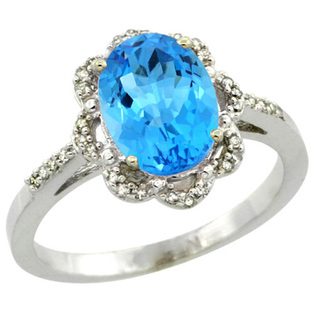 Sterling Silver Diamond Halo Natural Swiss Blue Topaz Ring Oval 9x7mm, 7/16 inch wide, sizes 5-10